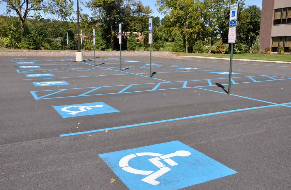 several handicap parking areas in a parking lot